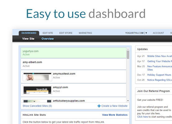 Easy to use dashboard.